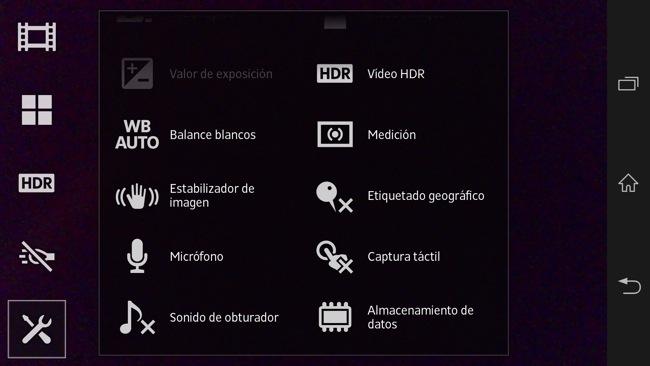 opciones cámara de fotos
