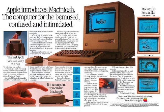 Macintosh 128k publicidad en revista