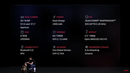 Las especificaciones del OnePlus 5