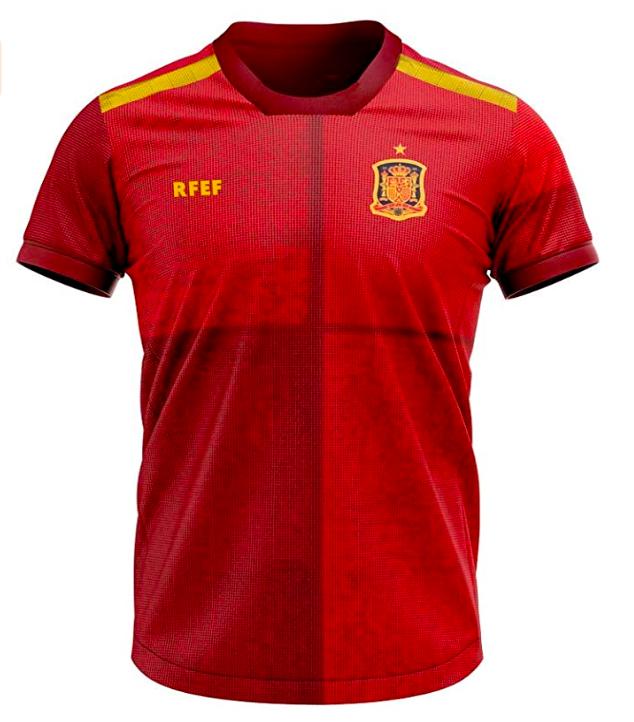 Camiseta réplica oficial de la primera equipación de la selección española en la Euro 2020.
