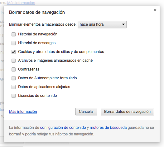 Chrome Eliminar Datos