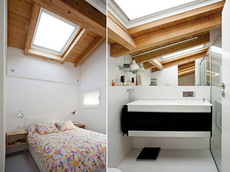 Dormitorio y aseo con techo abuhardillado de madera