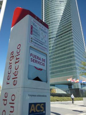 Punto de recarga fuera de servicio Madrid