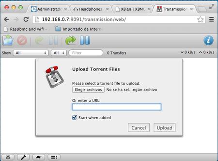 Un servidor Transmission a traves de la web. Genial para agregar nuestros torrents desde otro ordenador