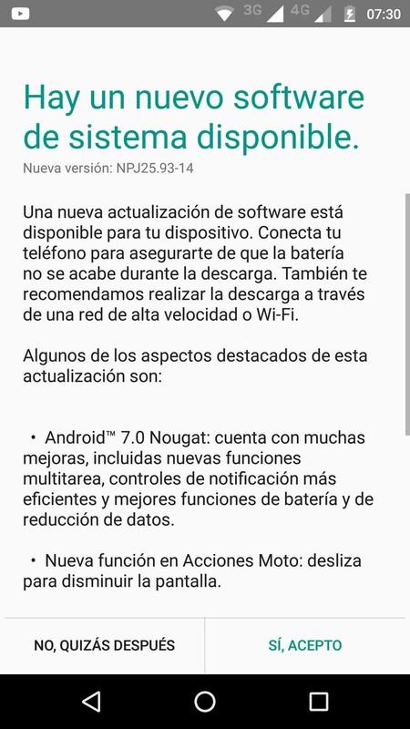 Moto G4 Plus Actualizacion Nougat Mexico