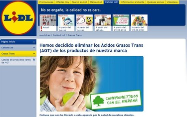 No encontraremos grasas trans en los productos de Lidl