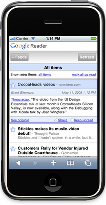 Nueva beta de Google Reader para el iPhone
