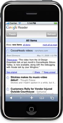 Nueva beta de Google Reader para el iPhone