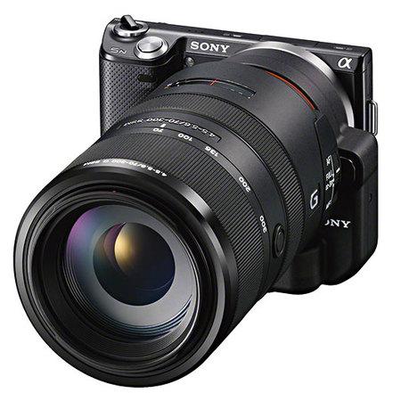 Sony NEX-5n con adaptador LA-EA2 y objetivo réflex 70-300