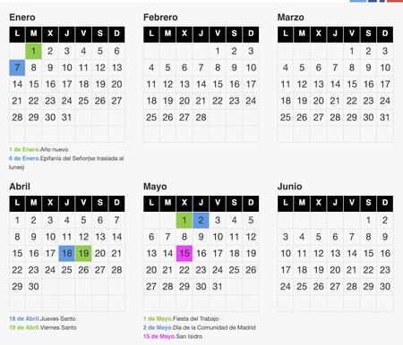 Calendario Laboral Madrid