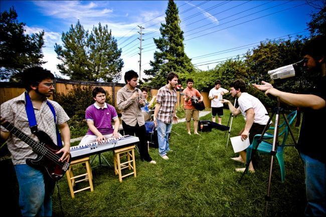 Artistas grabando videoclip
