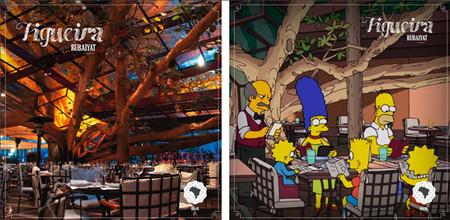 Los Simpson cenan bajo la higuera centenaria del restaurante Rubaiyat