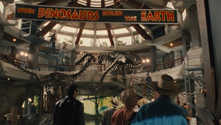 Jurassic World y Jurassic Park, pancarta antigua
