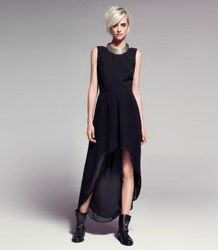 mango vestido negro noche
