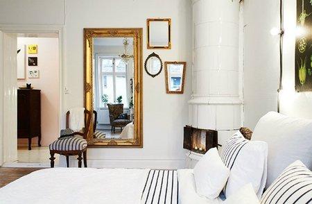 Dormitorio vintage desde la cama