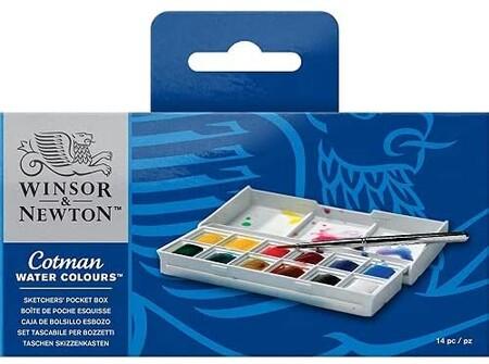 Winsor Newton Acuarela Cotman Caja De Acuarela Sketcher Set De 12 Medio Godets Colores Surtidos
