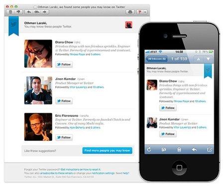 Twitter te sugerirá también por correo a quién seguir