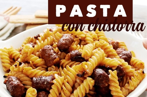 Pasta con chistorra. Receta en Video