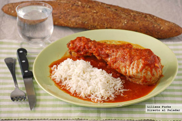Muslos de pavo en salsa de tomate y canela. Receta