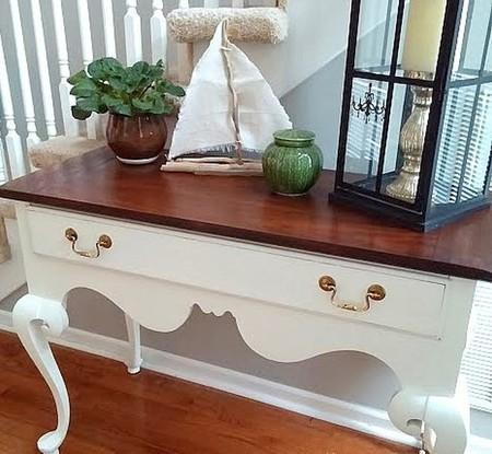 Sobres de madera y patas pintadas de blanco os gusta - Pintar sobre madera barnizada ...
