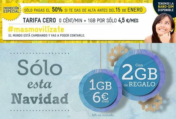 MásMóvil y Tuenti apuestan por las navidades con 1 Gb por 4.5 euros y 3 Gb por seis euros