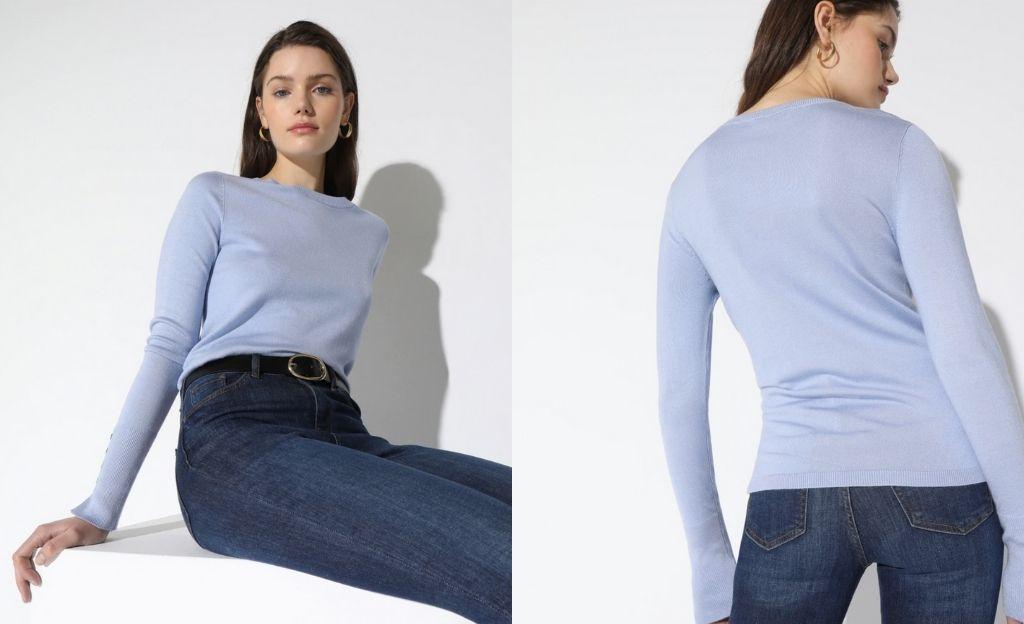 Jersey de mujer cuello redondo botones puños