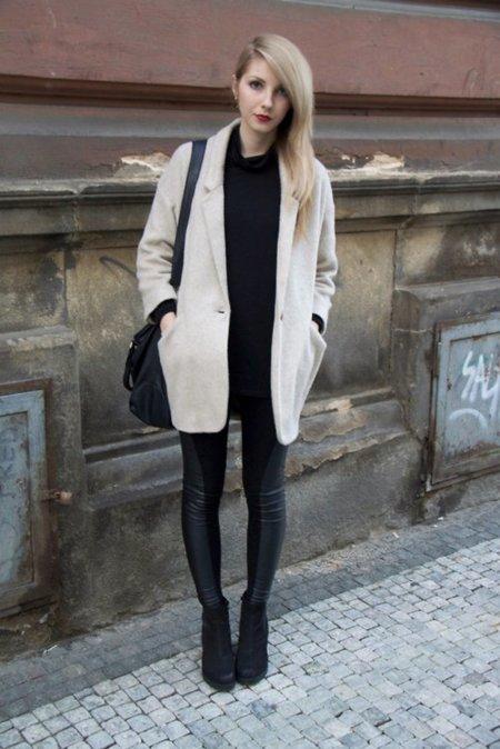 Beige abrigo Moda en la calle