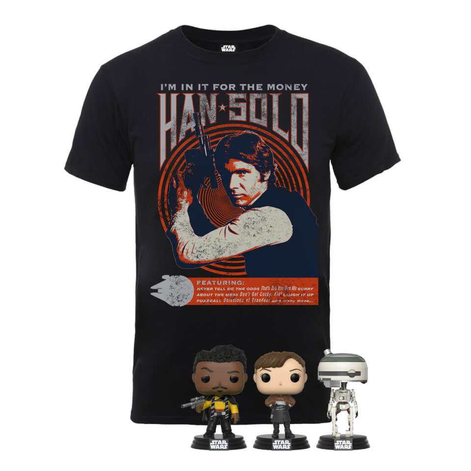 Pack Star Wars Han Solo: Camiseta + 3 Funko Pop!