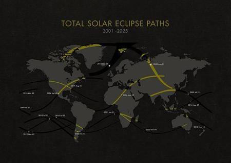 Mapa con los eclipses solares que se verán hasta 2025