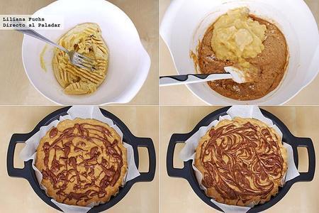 Bizcocho de plátano y Nutella en cazuela. Receta. Pasos
