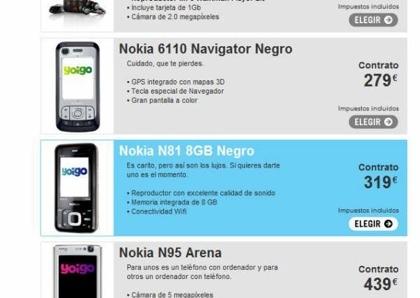 Yoigo tiene el Nokia N81 8GB