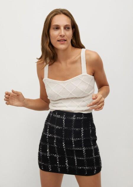 Minifalda tweed cuadros