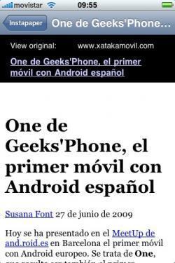Instapaper, lectura offline de páginas web en iPhone