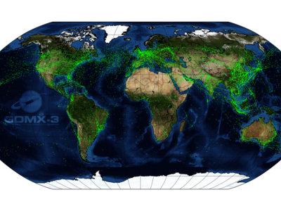 El tráfico áereo en la Tierra visto desde el espacio
