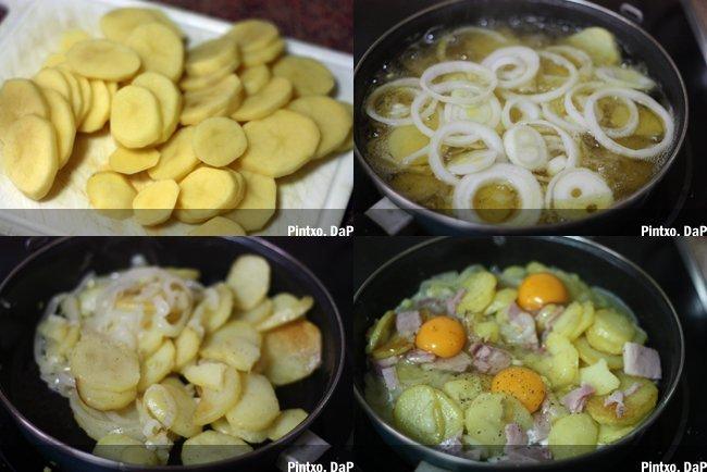 Patatas con lacón. Pasos