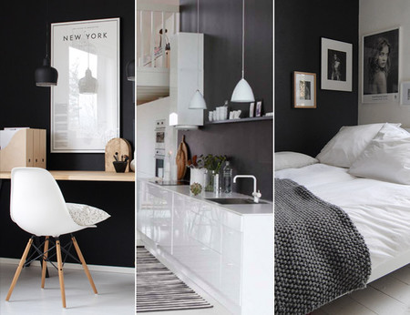 Tres buenos ejemplos de estancias con una pared negra