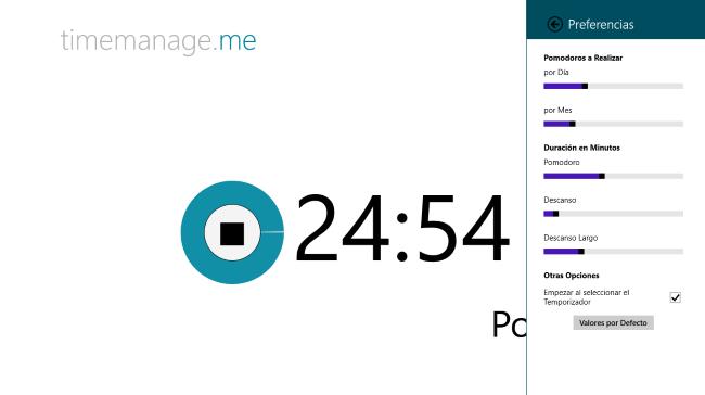 Timemanage.me y Pomodoro Focus, dos aplicaciones para usar la técnica Pomodoro en Windows 8