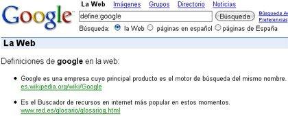 Definiciones directas con Google