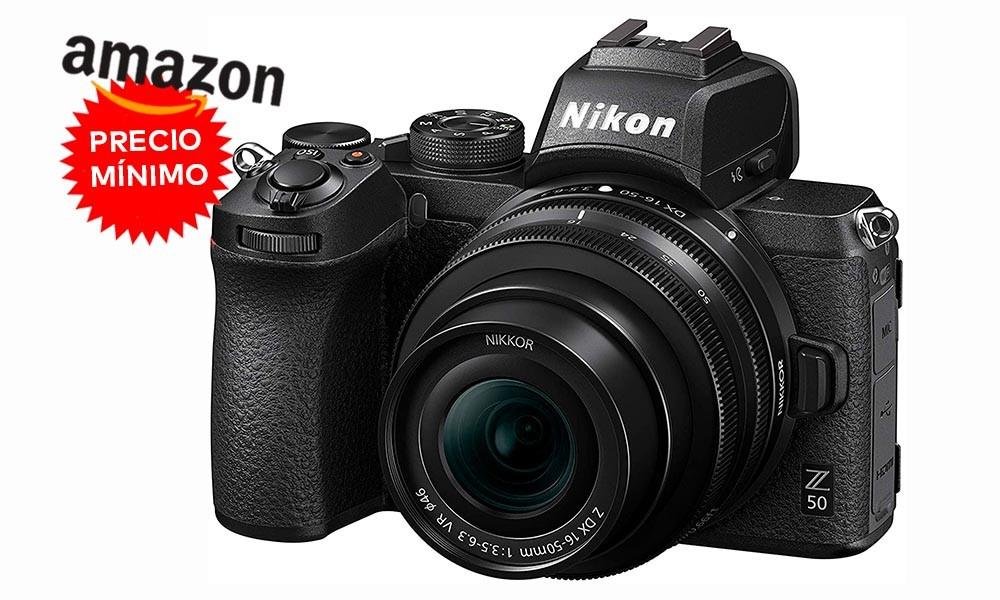 Si quieres una sin espejo sin salir de Nikon, ahora, en Amazon, tienes la Z50 con objetivo 16-50 a precio mínimo, por 858,99 euros