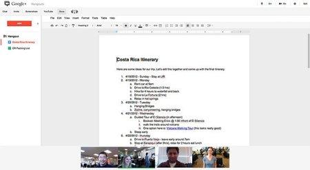 Las Hangouts de Google+ ya permiten la edición compartida de documentos en Google Docs