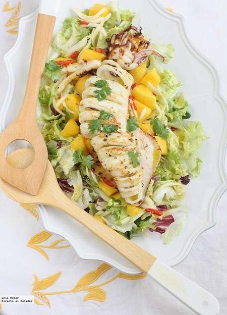 Ensalada De Mango Y Calamar A La Plancha Receta