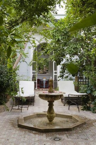 kitula, patio, fuente