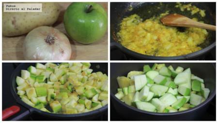 Crema Calabacin Cebolla Caramelizada Manzana Acida