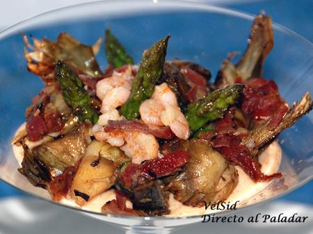Alcachofas y espárragos con crema de pimentón (Copa mar y montaña)