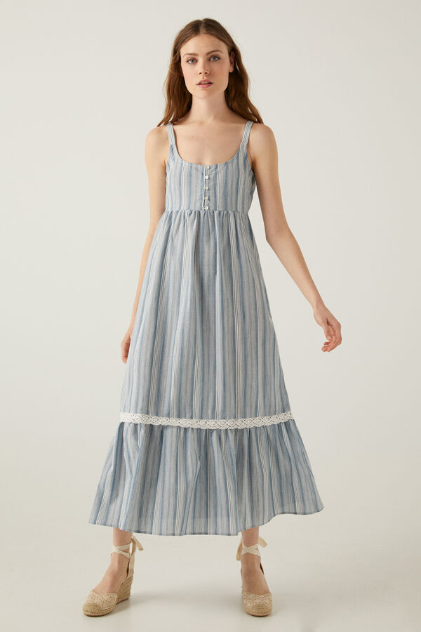 Vestido largo multiraya cenefa modelo Lace
