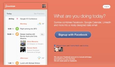 Sunrise, un correo al día con nuestros datos de Facebook, LinkedIn y Google Calendar organizados