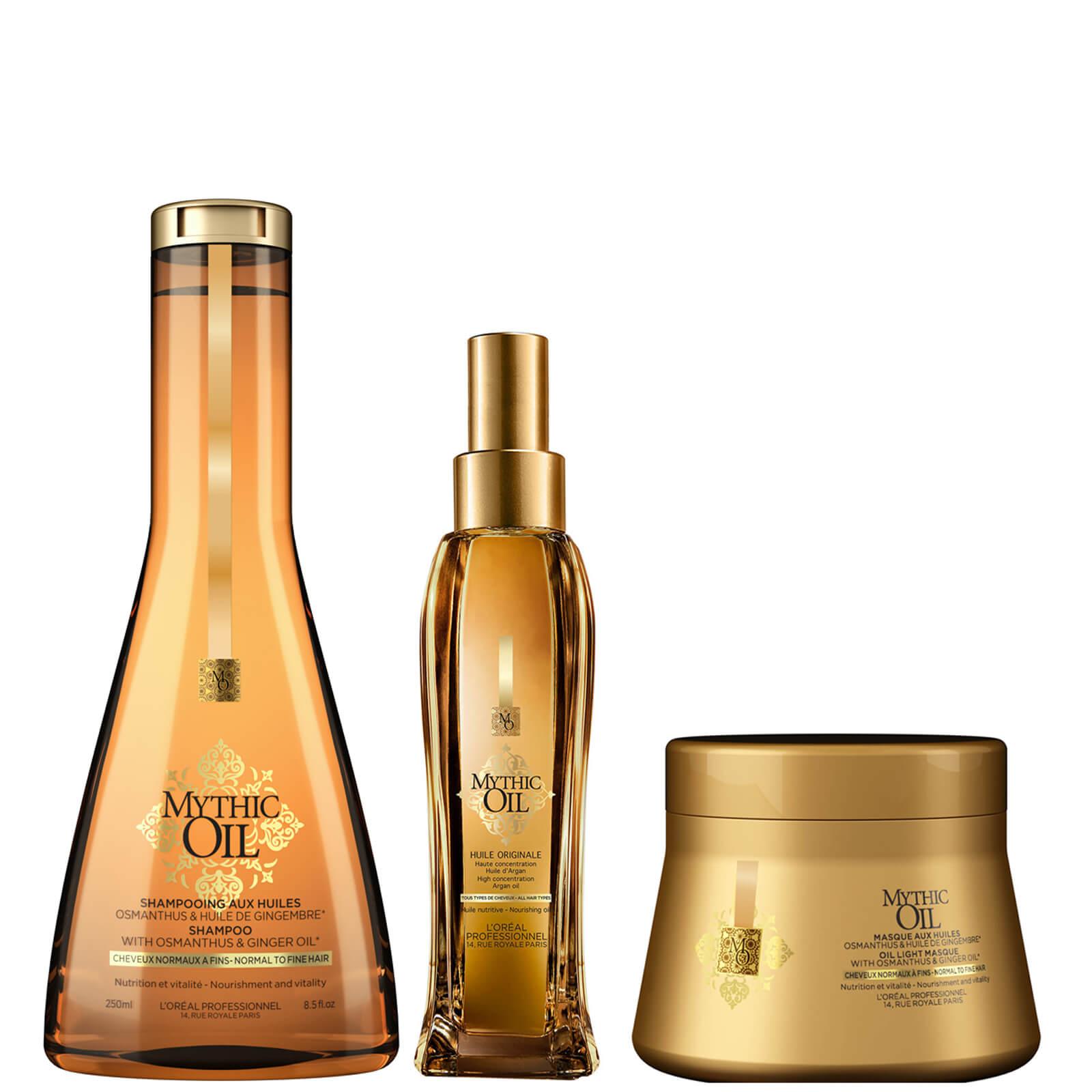 Trío de champú, mascarilla y aceite para cabellos normales/finos Mythic Oil de L'Oréal