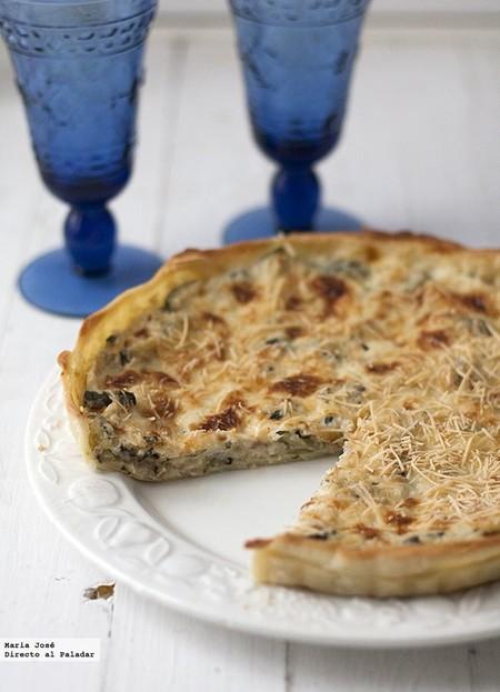 Tarta de calabacín, beicon y cebolla