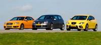 Trío de ases VAG: Audi S3, Seat Leon Cupra y Volkswagen Golf R32