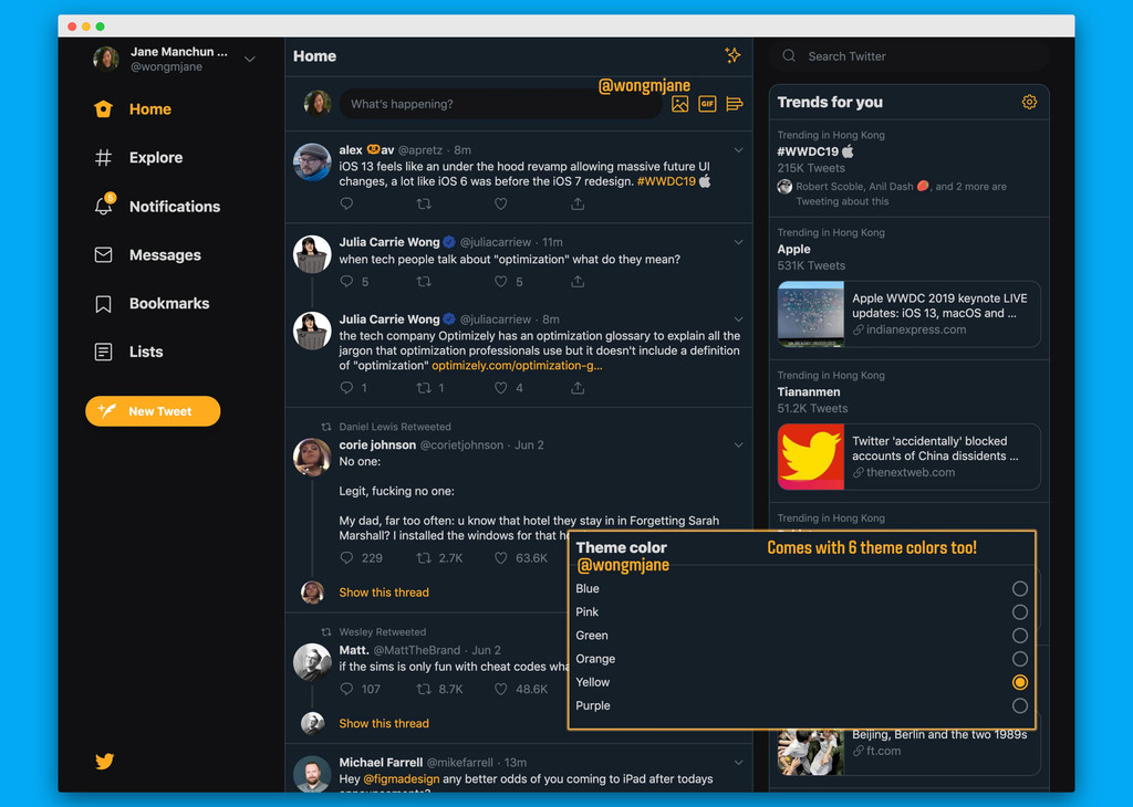 Twitter está probando un nuevo tema oscuro para su webapp con seis variaciones de colores diferentes